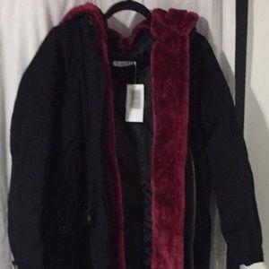 Just Fab Jacket/Coat Faux Fur Lining Sz 1X